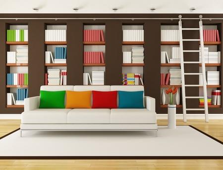 モダンなリビング ルームのレンダリングにはしごの本棚
