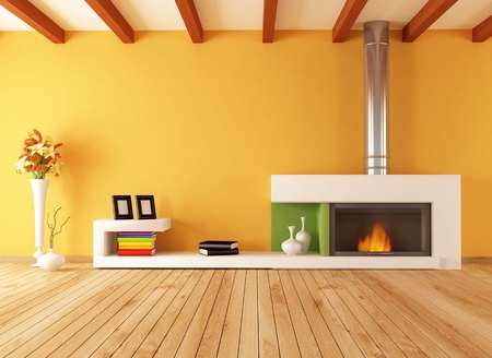 on wood floor: bright empty modern interior with minimalist fireplace - rendering