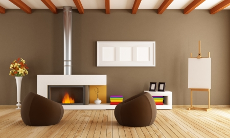 brown living room with fireplace two fashion armchair and artist easel-rendering photo