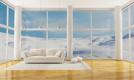 living room window: interior in a glass  mountain house with elegant sofa - rendering- the image on background is a my photo
