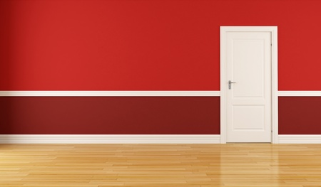 Empty red room with closed white door photo