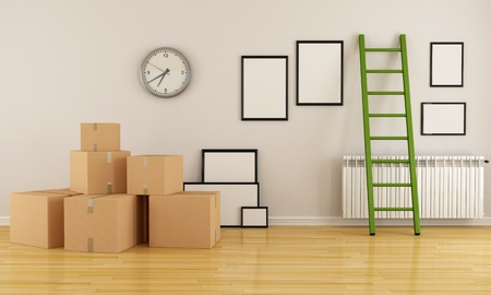 relocating: home interior with cardboard boxes ladder and empty frame-rendering Stock Photo