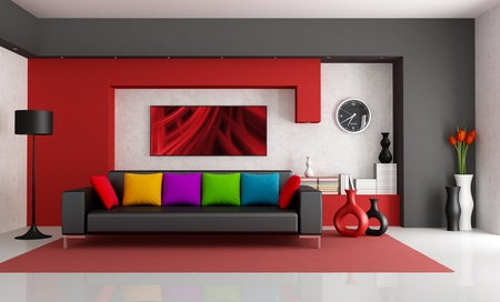 living room minimalist: Red white and black modern living room with black couch - rendering- the art picture on wall is a my composition