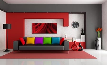 divano: Rosso bianco e nero moderno salotto con divano nero - rendering-foto arte sul muro � una mia composizione   Archivio Fotografico