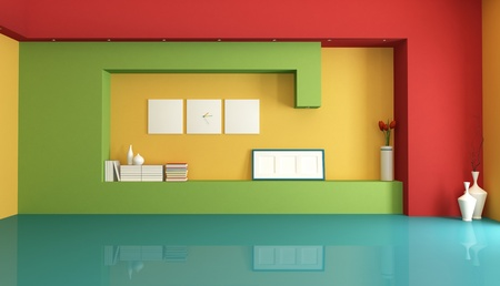 Modern colorful empty interior with niche - rendering
