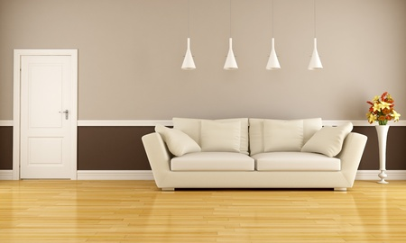 white sofa: Beige and brown living room with sofa and door - rendering