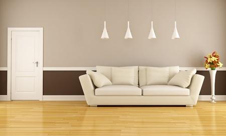 divano: Beige e marrone soggiorno con divano e porta - rendering Archivio Fotografico