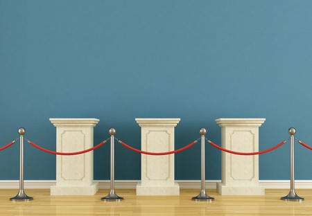 pedestal: Blue museum with  empty pedestal and barrier rope Stock Photo
