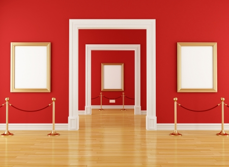 velvet rope barrier: golden empty frame in a red  museum with barrier rope - rendering