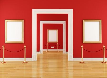 mus�e: or cadre vide dans un mus�e avec une corde rouge, barri�re - rendu