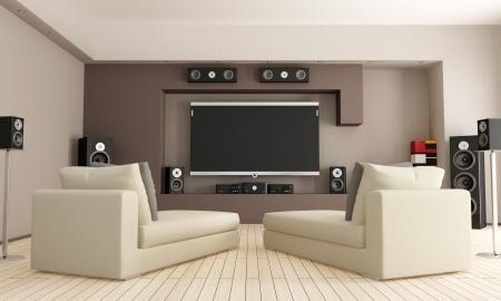 equipo de sonido: elegante salón con sistema de cine en casa - representación Foto de archivo