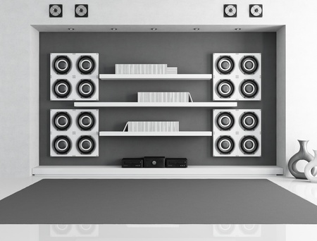 black and white music room with big speaker - rendering photo