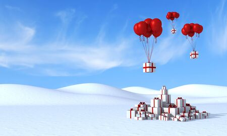 Group of gift box with red balloons in a mountain landscape-rendering Stock Photo - 10832957