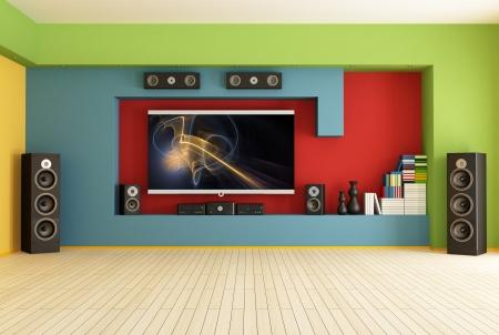 stereo: vide salon color� avec home cin�ma syst�me de rendu, l'image sur l'�cran est une composition ma Banque d'images