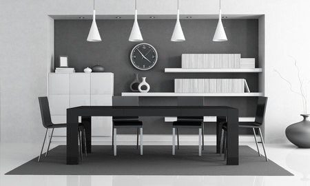 black and white contemporary dining room Stock Photo - 10832959