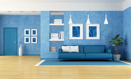 minimalist interior: contemporary living room with blue sofa and door-rendering-the art pictures on wall are my composition Stock Photo