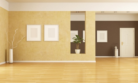 vase plaster: empty home entrance and living room - rendering