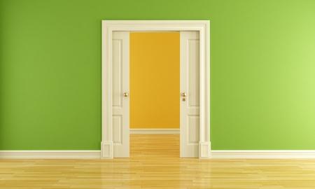 green interior with open classic sliding door, rendering Stock Photo - 10906759