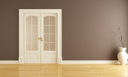 empty brown  interior with  classic sliding door - rendering photo