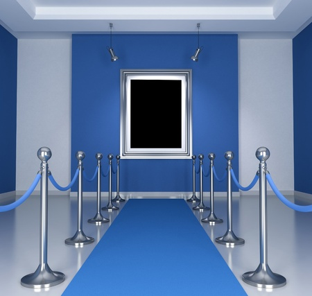 velvet rope barrier: Museum with blue  carpet and barrier rope- rendering
