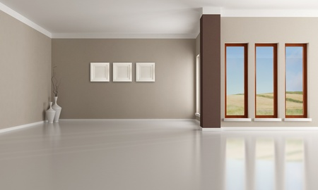 minimalist interior: Empty brown and beige  modern interior - rendering -the  image on background is a my photo