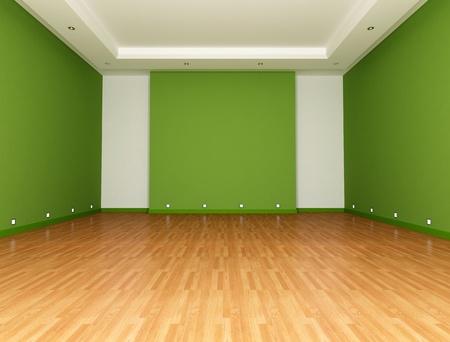 Green Empty room with parquet floor - rendering photo