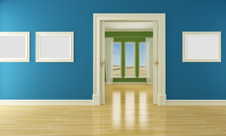 Blue and green interior with open classic sliding door and windows- rendering photo