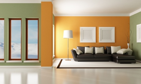 living room design: Contemporary living room with elegant couch - rendering - the image on background is a my photo
