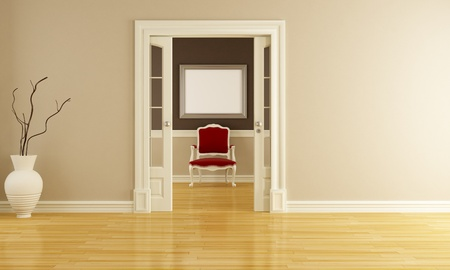minimalist interior: Classic brown and beige  Interior with Red Armchair - rendering