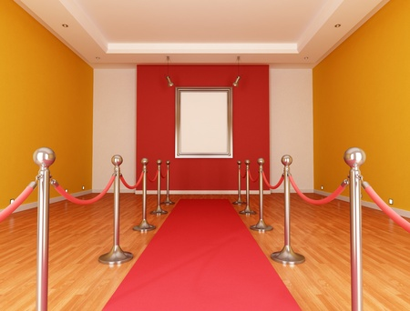 velvet rope barrier: Museum with red carpet and barrier rope- rendering