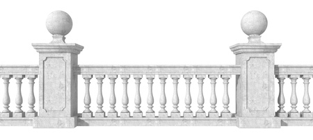 banister: classic balustrade with pedestal isolated on white background- rendering