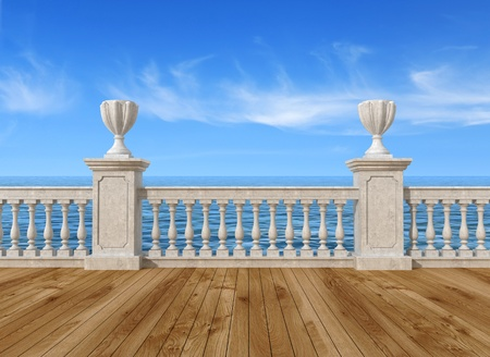 banister: empty terrace overlooking the sea with concrete balustrade and wooden floor - rendering- the image on background is a my rendering composition