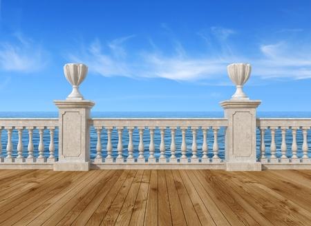 terrazza con vista sul vuoto mare con balaustra in cemento e pavimento in legno - il rendering, l'immagine sullo sfondo è una mia composizione di rendering