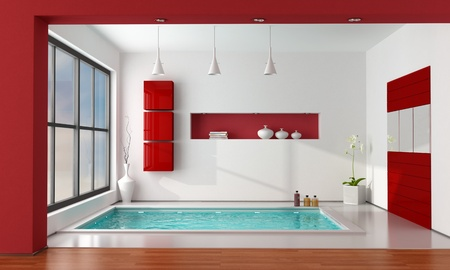 minimalist luxury bathroom wit big bathtub - rendering Stock Photo