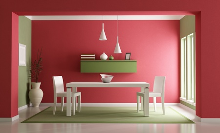 dining table: Elegant red ang green dining room-rendering Stock Photo