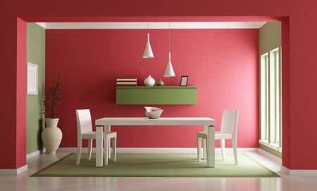 tavolo da pranzo: Elegante rosso ang verde sala da pranzo-rendering