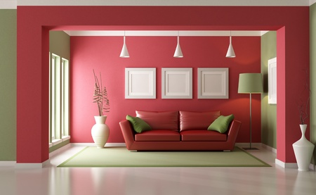 Elegant modern living room with red sofa - rendering photo
