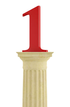 grecian: Number one over  classic column isolated on white - rendering