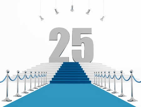 blue carpet: 25 year anniversary with blue carpet isolated on white-rendering