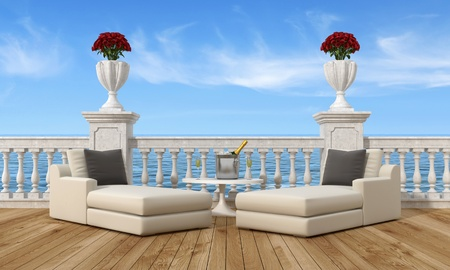 handrail: two sofas and a sunny terrace with ice bucket with champagne-rendering-the image on background is a my rendering composition