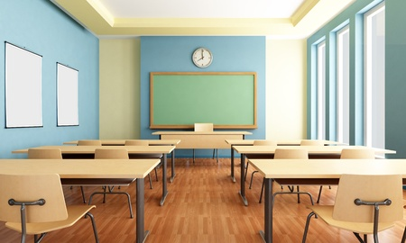 classroom training: Bright empty classroom without student with wooden furniture -rendering