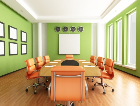 boardroom meeting: green and orange conference room - rendering