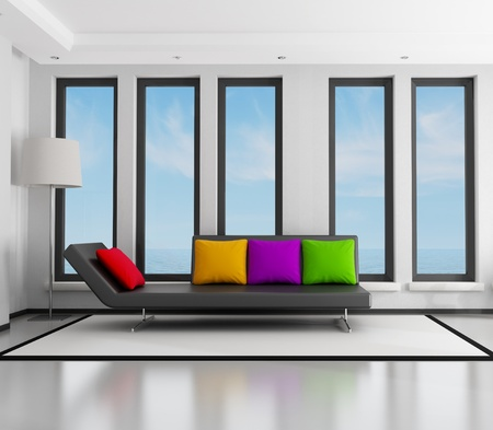 red couch: black and white living room with fashion couch - rendering