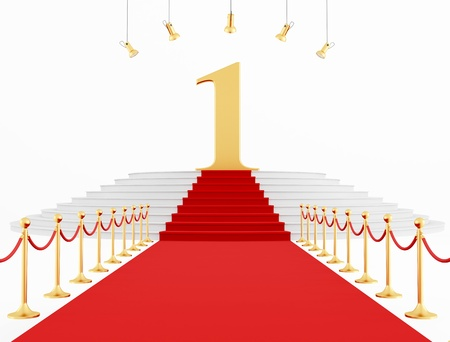 Number One on the red carpet isolated on white - rendering Stock Photo - 11151103