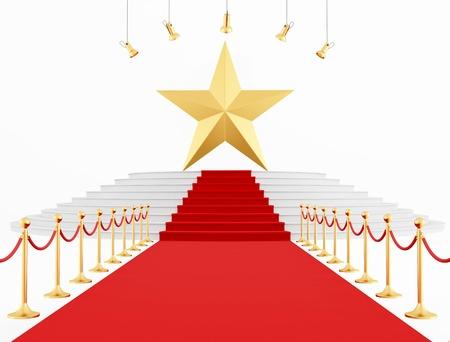 Estrella de Oro en la alfombra roja aisladas en blanco de representación