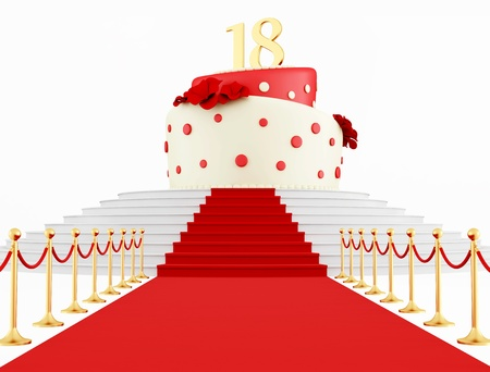 velvet rope: eighteenth birthday cake on the red carpet isolated on white - rendering