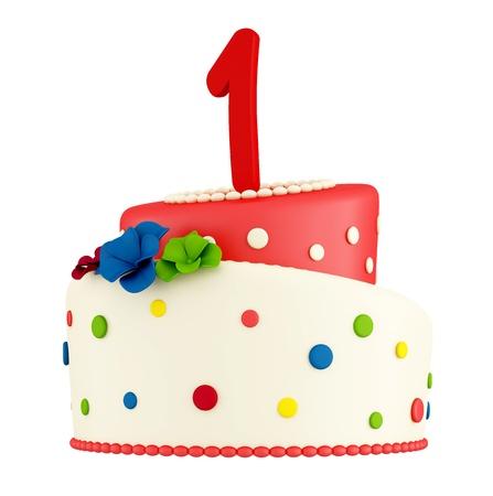 pastel de cumplea�os: En primer pastel de cumplea�os aislado en blanco - la representaci�n Foto de archivo
