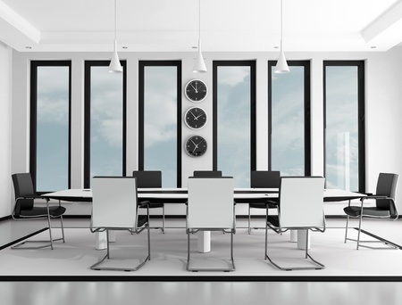 Black and white contemporary meeting room - rendering photo