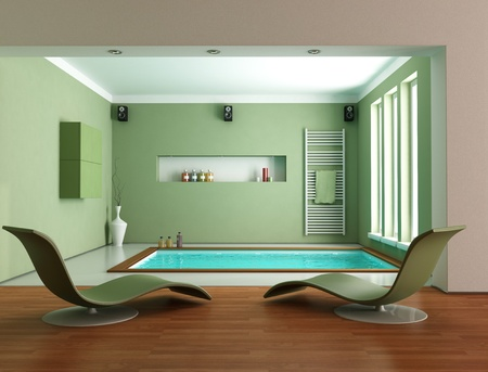 minimalist green luxury bathroom wit big bathtub - rendering Stock Photo - 11451402