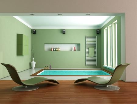 minimalist green luxury bathroom wit big bathtub - rendering Stock Photo - 11451402